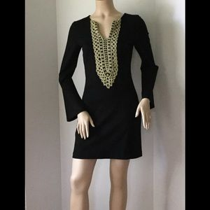 Nicole Miller Black&Gold Long Sleeve Stretch Dress